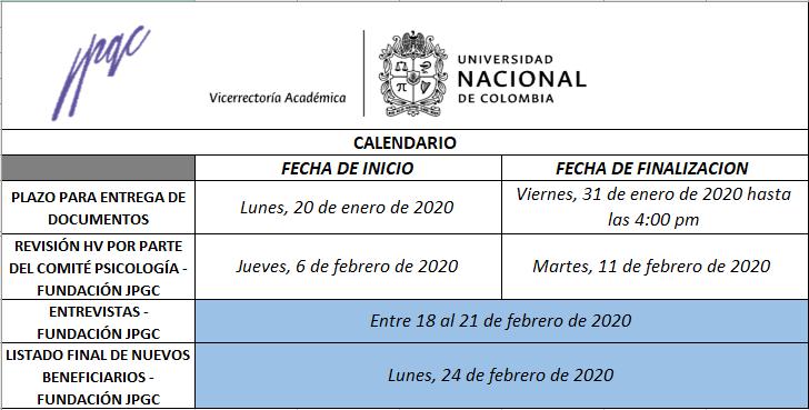 Calendario 2020-1s